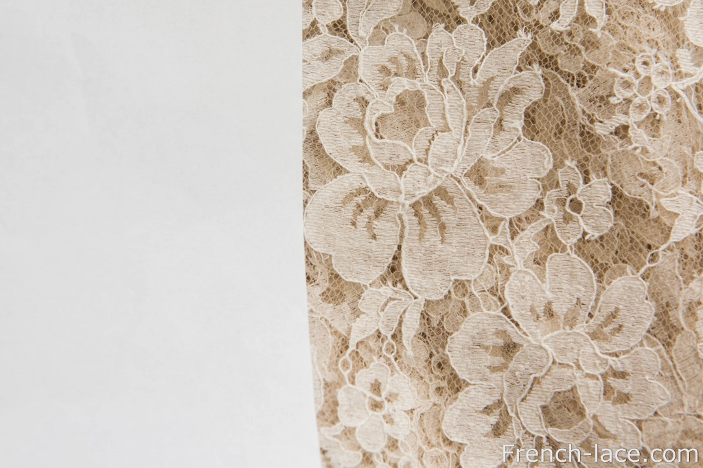 Beige/sable lace and a list of paper