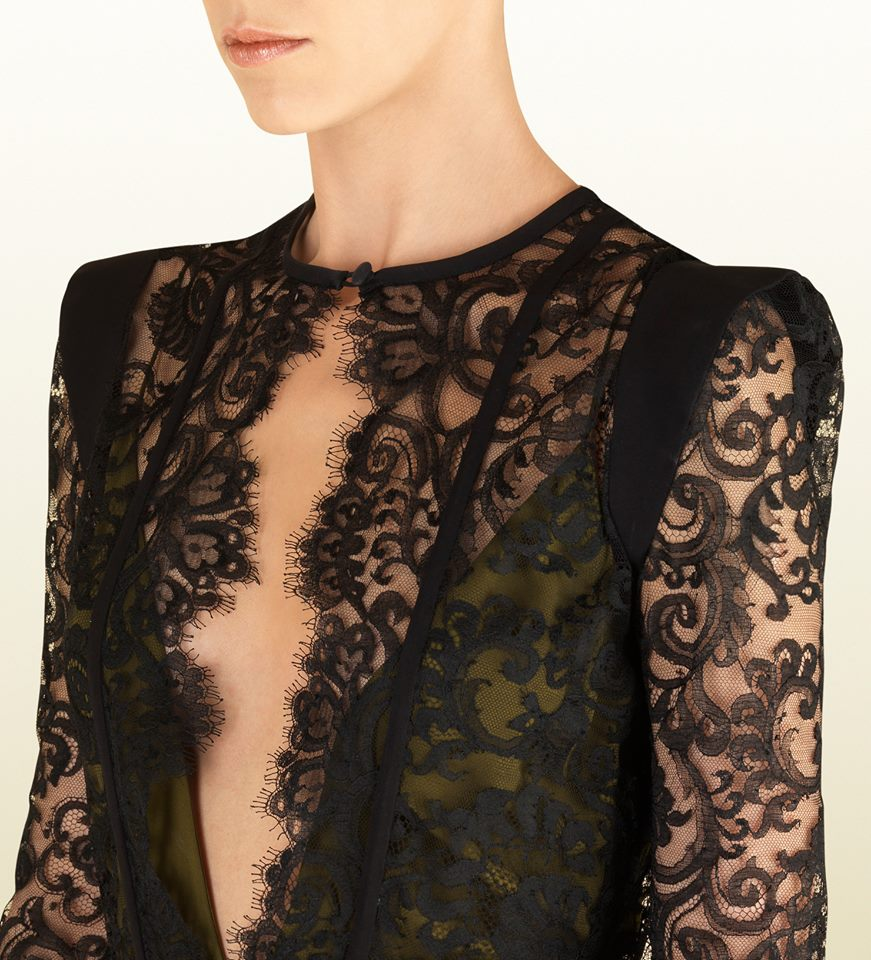 black chantilly lace gown