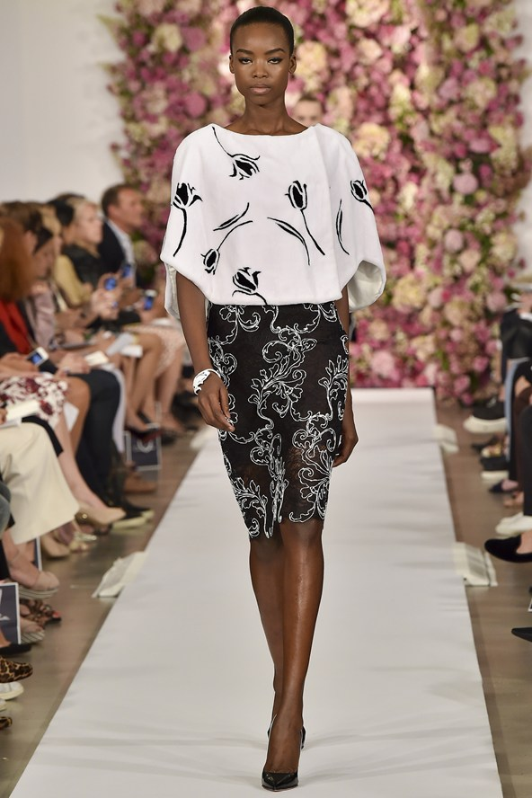 Floral motifs and notice these embroideries on a lace skirt