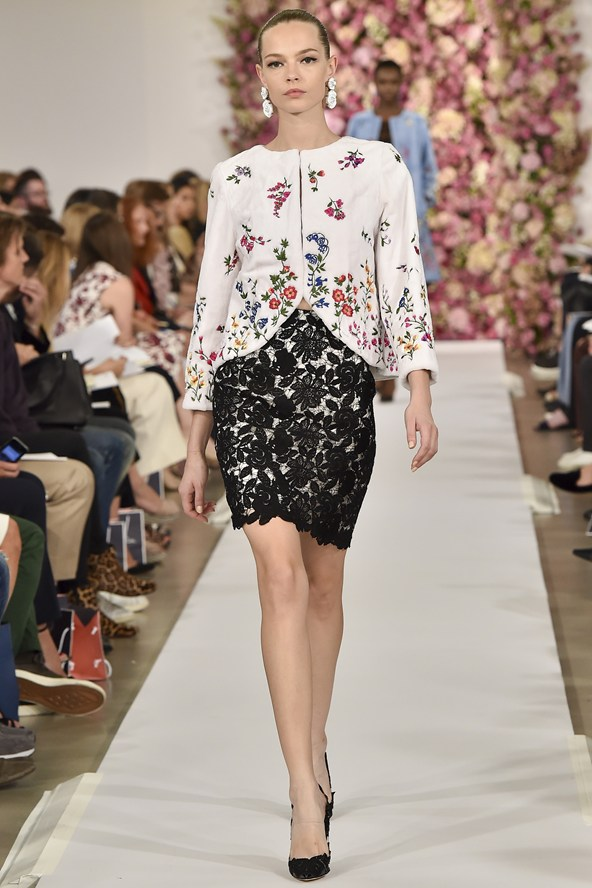 Youthful spring floral top in contrast with black lace skirt on a white backing!