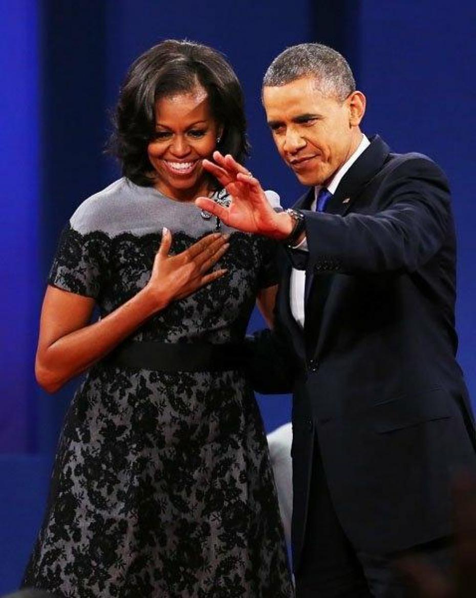 Michelle Obama and a black alencon lace dress