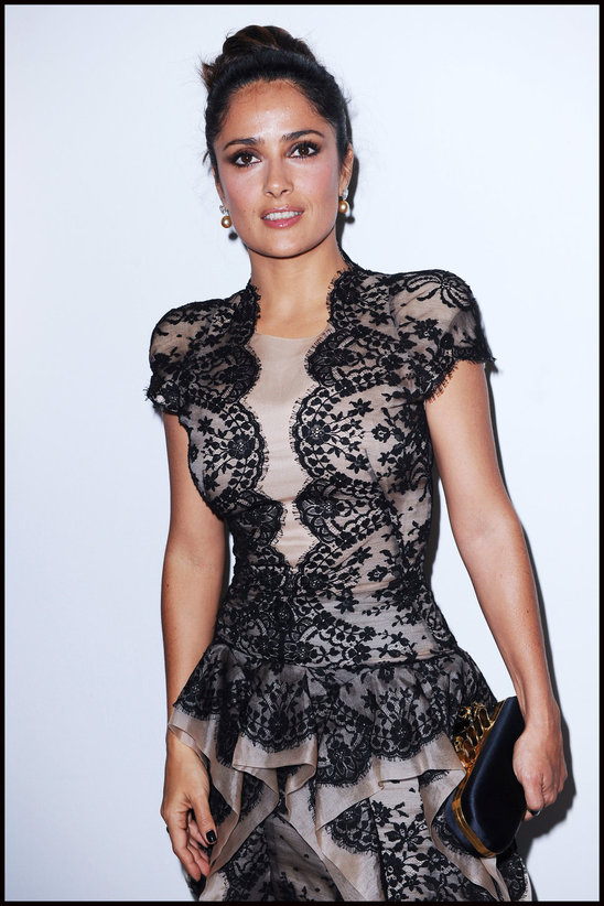 Salma Hayek in an Alexander McQueen black lace dress made of a narrow Kate's lace