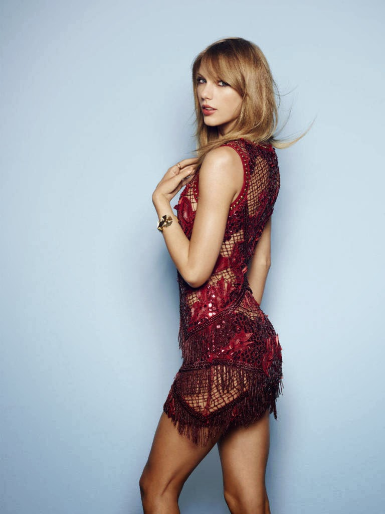 Taylor Swift red mixed dress