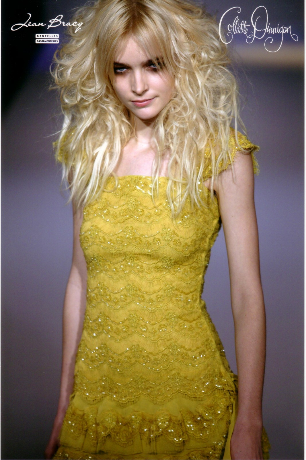 Collette Dinnigan and an unusual beaded yellow Chantilly