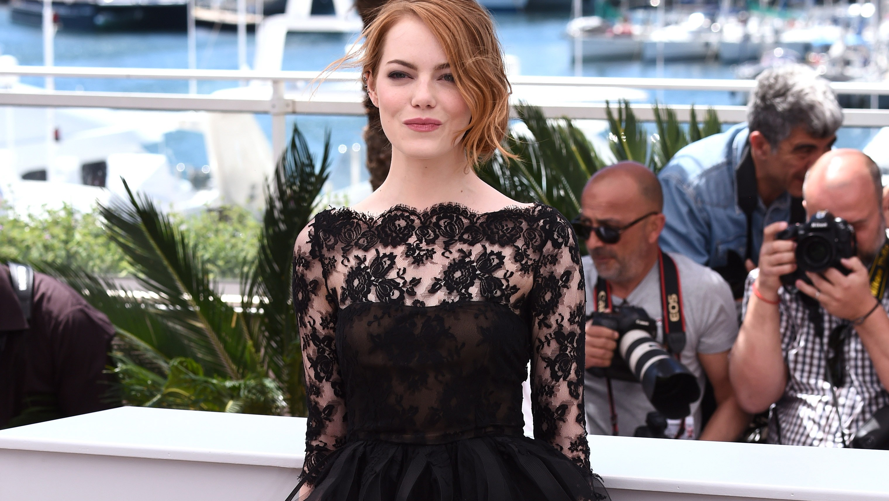 Little Black Lace Dress On The Red Carpet French Lace